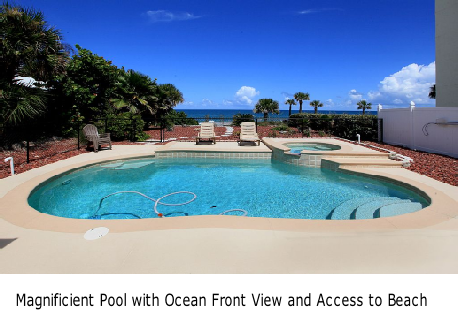 Magnificient Pool with Ocean Front View and Access to Beach